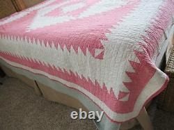 Antique Pink & Wht Graphic Diamond Sawtooth Border Hand Made Quilt 77X 77 VGC