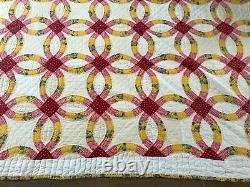 Antique Queen Double Wedding Ring handmade quilt 100 x 87 vintage pink