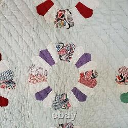 Antique Quilt #4 Vintage Handmade Good Some Stains Multicolor Very Old 84 x 69