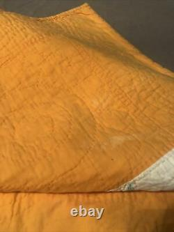 Antique Quilt Vintage Yellow Orange Eight Point Star Handmade 66X74