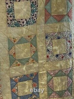 Antique Quilt Yellow Pastel Block Pattern hand pieced & quilted 72 x 87