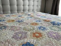Antique VTG 1930's Hexagon HandMade Stitched QUILT Bed cover 66x78 Patchwork