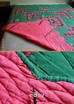 Antique VTG QUILT Green Pink Fans Sunrise Hearts Scalloped Edges Handmade 78x81