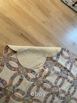 Antique Vintage Double Wedding Ring Quilt Blanket Twin/double Handmade