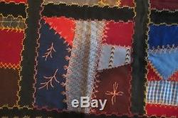 Antique Vintage Early Handmade Crazy Quilt 25 Large Block Embroidery Needlework
