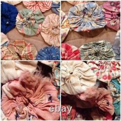 Antique Vintage Feedsack YoYo Handmade Quilt Top Vintage 86x94 Queen Full