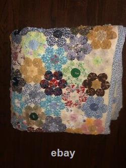 Antique Vintage Feedsack YoYo Handmade Quilt Top Vintage 88x77 Lovely