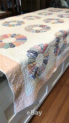 Antique Vintage Handmade DRESDEN Plate QUILT Colorful Feedsack 87X71