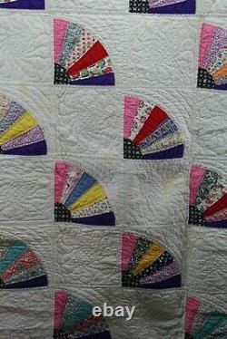Antique Vintage Handmade Fan Cotton Quilt 78 By 104 Pink Backing
