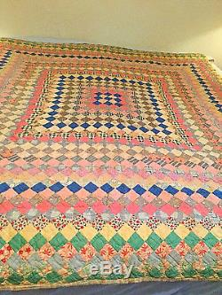 Antique Vintage Handmade Hand Stitched Quilt Old Prints, Feed Sacks Flannel Back