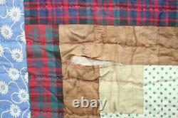 Antique Vintage Handmade Log Cabin Cotton Quilt 64 By 80 Purple Backing