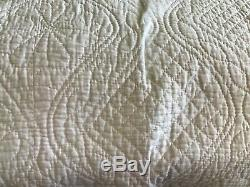Antique Vintage Handmade Quilt Textile Durham Pale Pink Blanket 239 x 205 CM