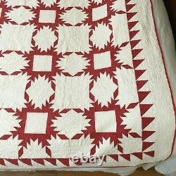 Antique/Vintage Handmade Red & White Feathered Star Snowflake Quilt 74x75 GC