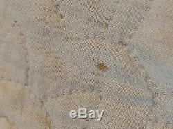 Antique Vintage Old Pastel Hand Made Pieced Quilt 74x96 Scalloped Gorgeous