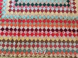 Antique Vintage c1950 Around The World Postage Stamp Quilt 69X85 Handmade Nice