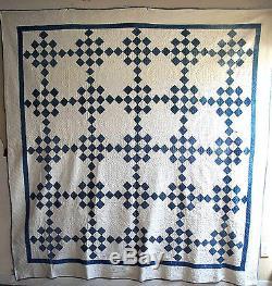 Antique Vtg Handstitched Handmade American Patchwork Quilt 86x 81 1890-1920's