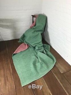 Antique Welsh Handmade Quilt Textile Durham Pink & Green Vintage Blanket Reverse