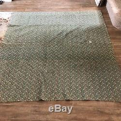 Antique handmade quilt 69 x 73 flower basket green ivory vintage patch blanket