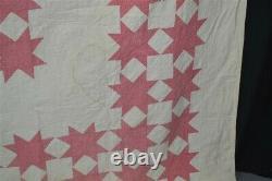 Antique quilt star patches 82x88 history Wheeler 1870 Fairfax Vt original