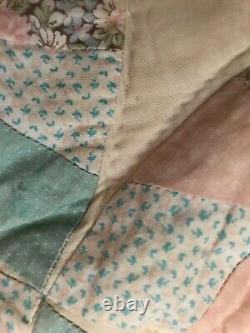 Antique/ vintage hand made patchwork quilt wedding band pattern very large