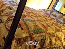Antique vintage patchwor quilt handmade hand stitch Log Cabin pattern 84 x 107