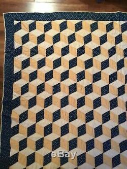 BEST Vintage 19th Century Tumbling Blocks Calico Antique Quilt GRAPHIC Hand Made