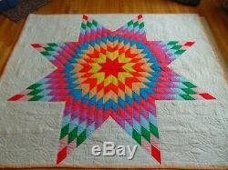 BRIGHT COLORFUL VINTAGE HANDMADE LONE STAR QUILT 70 X 82 ff