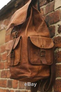 Bag Vintage Style Real Genuine Leather Bag Rucksack Backpack Dark Brown