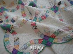 Beautiful Colors of Sea Glass Vintage Green & Purple Wedding Ring QUILT 88x76