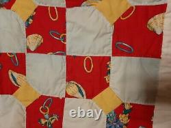 Beautiful Hand Made Vintage Boe Tie Country Farmhouse Quilt 82 X 65 Estate