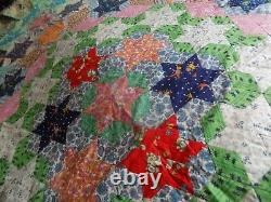 Beautiful Hand Stitched Patchwork Quilt 62'' X 90'' Vintage Shabby Chic Cottage
