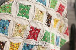 Beautiful Handmade Cathedral Window Vintage Quilt 110 x 83
