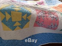 Beautiful Patch Quilt Handmade/Hand Quilted vintage fabricColorful-Large 92x80