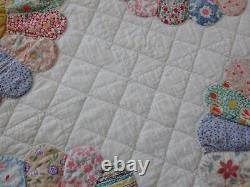 Beautiful Prints! Large Vintage Yellow + Feedsack Applique Dresden Plate QUILT