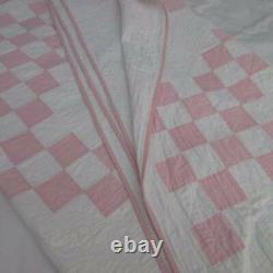 Beautiful Quilting! Romantic Vintage Orchid Pink & White Irish Chain QUILT 86x84