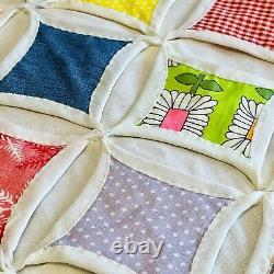 Beautiful Vintage 1940s 83x75 Multicolor Cathedral Window Quilt Handmade EUC