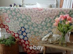 Beautiful Vintage 30s Tiny Touching Stars Feedsack QUILT 76x68