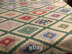 Beautiful Vintage Antique Handmade Field of Diamonds Quilt (77 x 98)