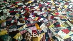 Beautiful Vintage Crazy Quilt Silk Hand Made Signed 82x75