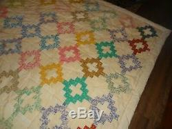 Beautiful Vintage Hand Made Patchwork Quilt 69 x 93 70 Blocks