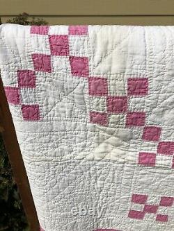 Beautiful Vintage Handmade Pink Irish Chain Patchwork Quilt 78 X 78