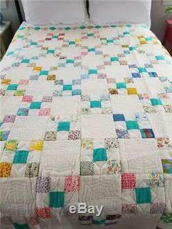 Beautiful Vintage Quilt Hand Made Nine 9 Patch + Irish Chain + Spider Webs