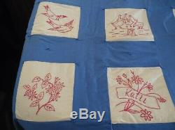 Beautiful Vintage Red Work MID Century Custom Hand Made Quilt 66 X 82