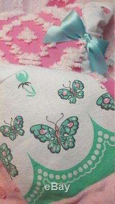 Butterfly Kisses Vintage Pink Shabby Chenille Baby ruffle Girl Crib Quilt Gift