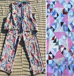 CLEAN VINTAGE 1930s PATCHWORK CLOWN /HOBO COSTUME MADE FROM ANTIQUE c. 1890 QUILT