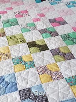 COLORFUL VINTAGE BOW TIE QUILT HANDMADE c1930s-1940s AMAZING QUILTING