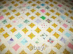 Cathedral Window Hand Made Quilt Beautiful 80x 80 Vintage