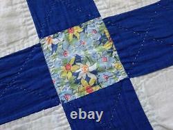 Charming Vintage 30s Blue & White Missouri Daisy QUILT 83x66