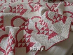 Crisp 1880s Cinnamon Pink & White Antique Basket Quilt Primitive 78x72