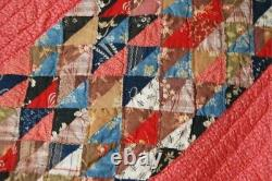 DAZZLING Vintage 1870's Ocean Waves Antique Quilt VIBRANT EARLY FABRICS